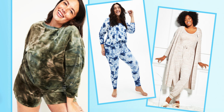 Illustration of the Eloquii Soft Knit Jumpsuit, Old Navy Cozy Velour plus-size Lounge Sweatshirt, and Mid-Rise Cozy Velour Lounge Shorts and the Torrid Navy Tie-Dye Micro loungewear