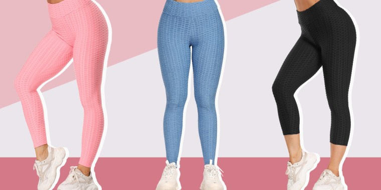 Illustration of a woman wearing butt-lifting pink leggings
