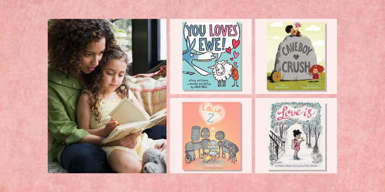 Illustration of a mom and daughter reading a book about valentines day, Caveboy Crush by Beth Ferry and Joseph Kuefler, Love Is, by Diane Adams and Claire Keane, Love, Z, by Jessie Sima and You Loves Ewe!, by Cece Bell