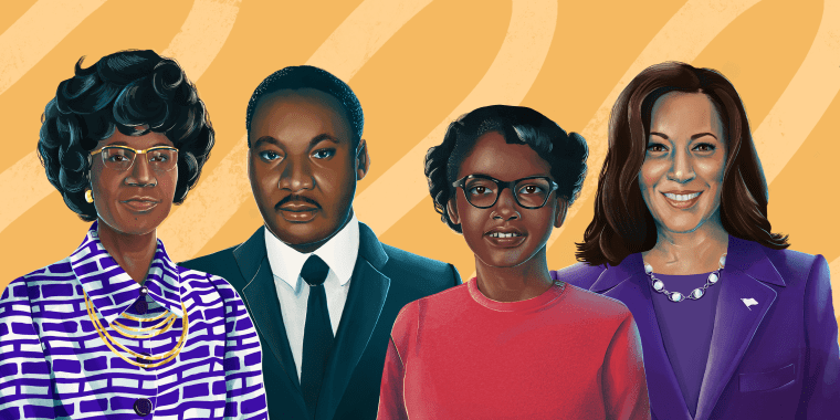 Drawn illustration of Shirley Chisholm, Martin Luther King Jr. Claudette Colvin and Vice President Kamala Harris