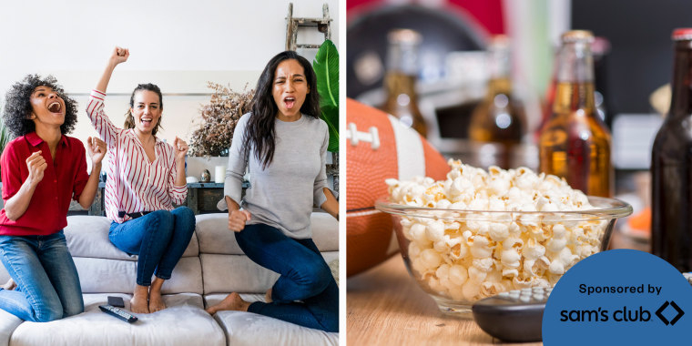 Image of roommates watching the Superbowl and an image of a football, beers, remote and popcorn to watch the Superbowl