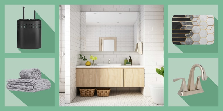 Illustration of a serene white upgraded bathroom, Blue Donuts Free Standing Toilet Brush and Plunger, Bramwell Mid-Arc Bathroom Faucet in Satin Nickel, Society6 bathmat, and Parachute Home Waffle Towels