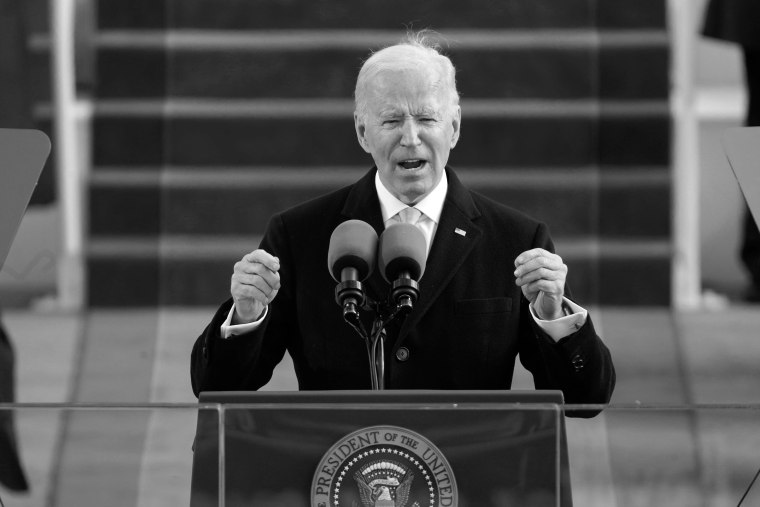 President Joe Biden speaks after being sworn in as the 46th President at the Capitol on Jan. 20, 2021.