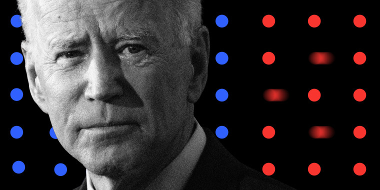 Photo illustration of President Joe Biden juxtaposed over a grid of blue and red dots where three of the red dots are moving away.
