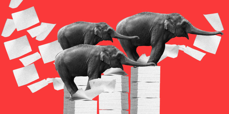 Photo illustration of three elephants facing right, standing over piles of paper.