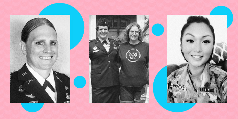 Image: Kara Corcoran, Bree Fram, and Adrianna Guevarra, transgender members of the military, on a pink background with blue circles.