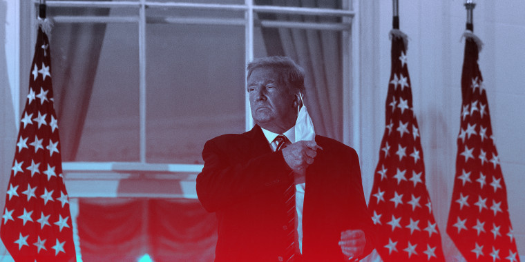 Image of US President Donald Trump takes off his facemask as he arrives at the White House with a red overlay
