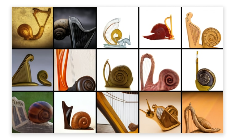 """OpenAI found that DALL-E can generate animals synthesized from a variety of concepts, including musical instruments, foods, and household items. While not always successful, they found that DALL-E sometimes takes the forms of the two objects into consideration when determining how to combine them. For example, when prompted to draw """"a snail made of harp,"""" it sometimes relates the pillar of the harp to the spiral of the snail's shell."""
