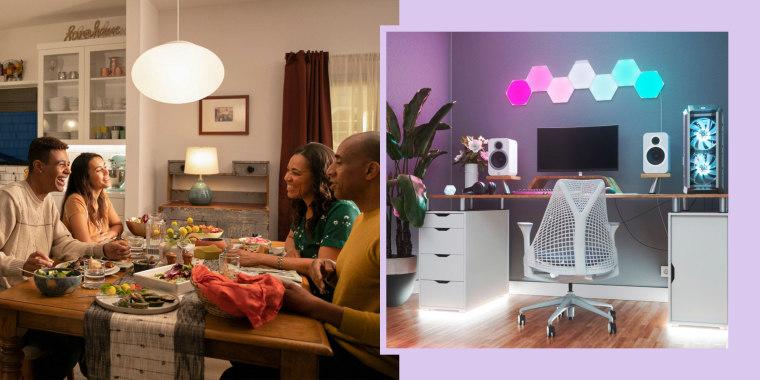 Illustration of the Nanoleaf Shapes Hexagons Smarter Kit Multicolor in someones office and a family at dinner sitting under their Sengled LED Bulb Motion Sensor light bulbs