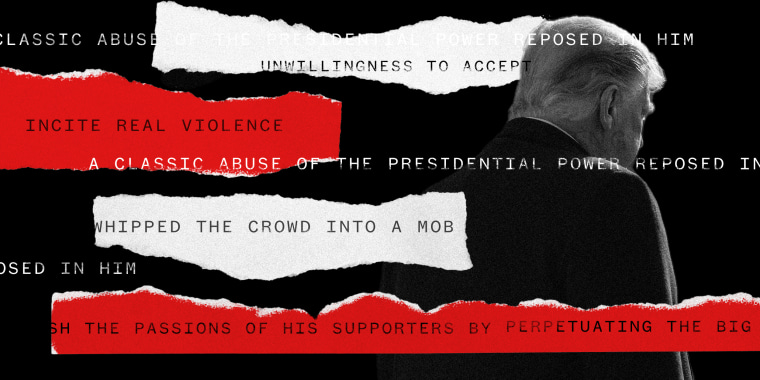 """Image: Red and white torn strips of paper against a silhouette of Donald Trump facing away. The text on the paper strip:""""unwillingness to accept"""",""""incite real violence"""",""""whipped the crowd into a mob"""",""""classic abuse of presidential power...""""."""