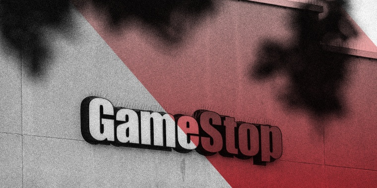 Image: Signage on a GameStop store with a red overlay on one half