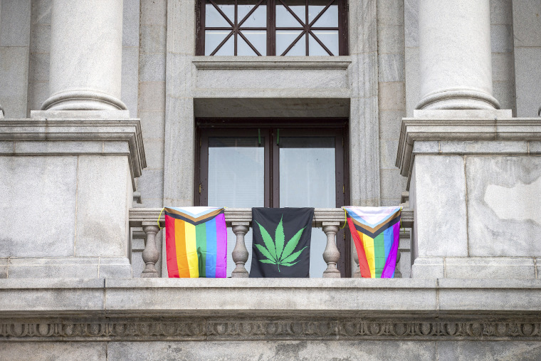 Image: LGBTQ flags and weed flag
