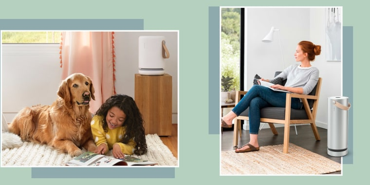 Illustration of a woman relaxing with her Molekule Air and a girl and her dog playing with a Molekule Air Mini+ on the table, Molekule's air purifiers are now on sale, and here's where you can take advantage of these great deals.