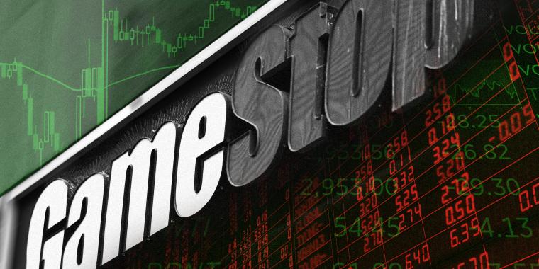 Photo illustration of stock market analytics superimposed with the storefront signage of Gamestock.