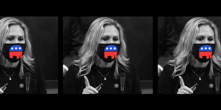 Photo illustration of three frames of Marjorie Taylor Greene in face mask that has the Republican party elephant on it.