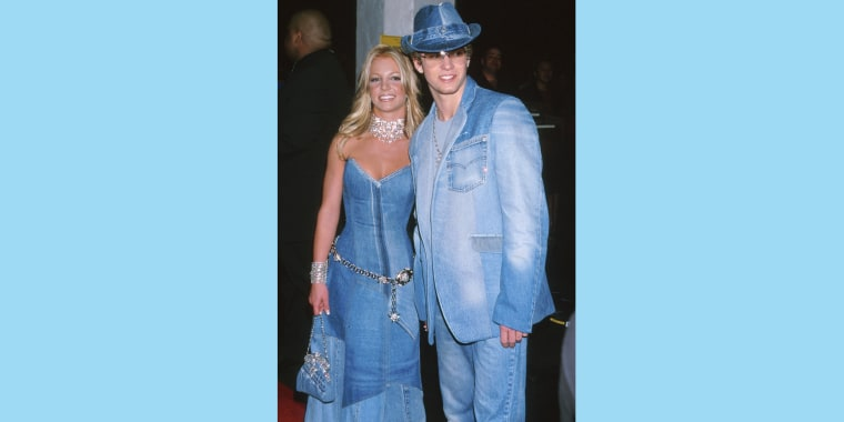 Justin Timberlake and Britney Spears famously wore matching denim on denim outfits in 2001.