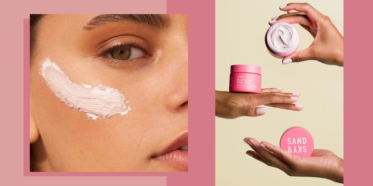 Illustration of a woman using the Australian Pink Clay Porefining Face Mask from Sand & Sky