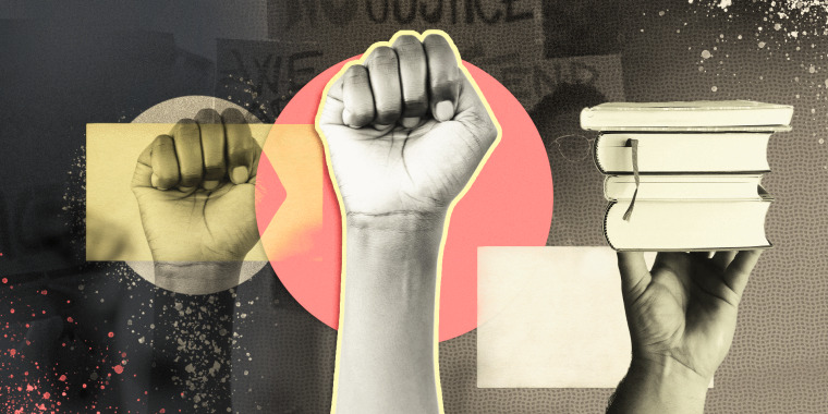 Illustration of Black power fist on collages background showing protests