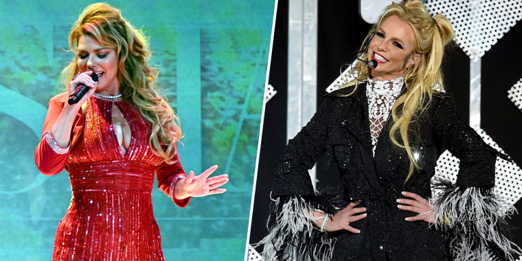 (Left) Shania Twain performs onstage at a charity event in New York City on Feb. 5, 2020. (Right) Britney Spears performs at Staples Center in Los Angeles on Dec. 2, 2016.