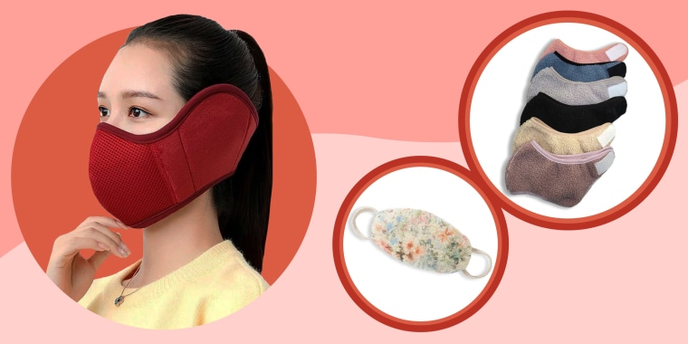 Illustration of Ear Muff Face Mask, Warm Face Masks from Etsy and an Anthropologie Sherpa Ear Loop Reusable Face Mask