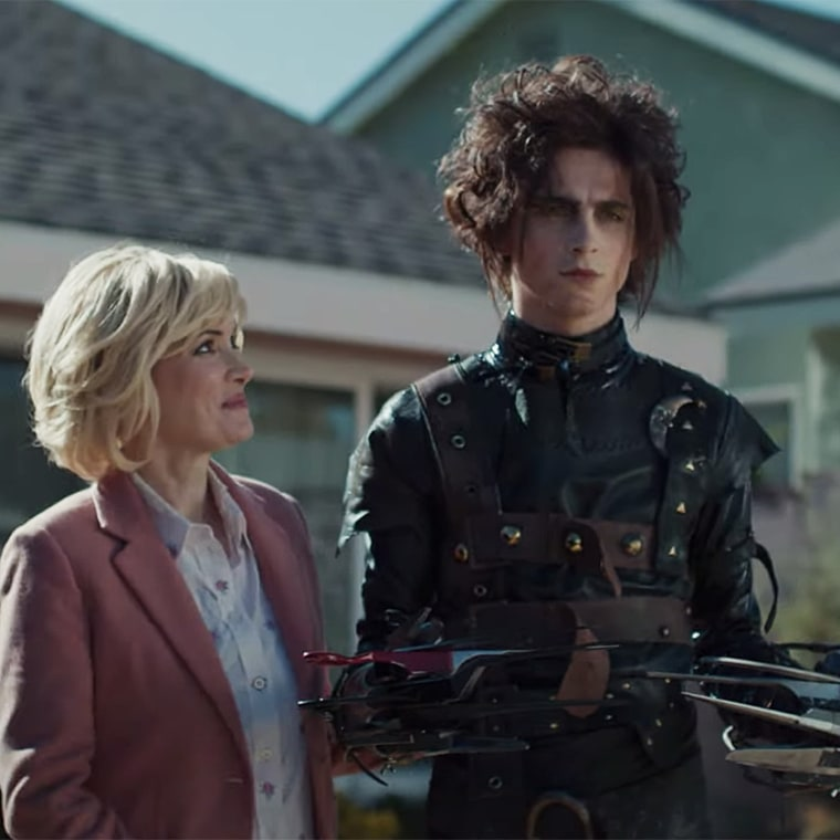 Timothée Chalamet as Edgar Scissorhands, Edward's son, with Winona Ryder.