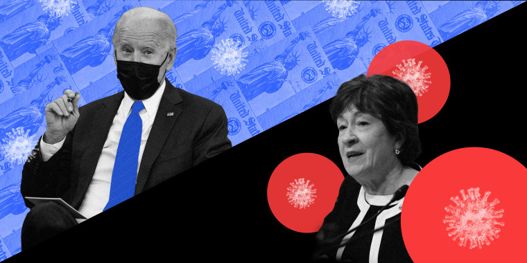 Photo illustration of President Biden against a background of blue cheques and COVID-19 spores along with Sen. Susan Collins surrounded by red circles with COVID-19 spores.