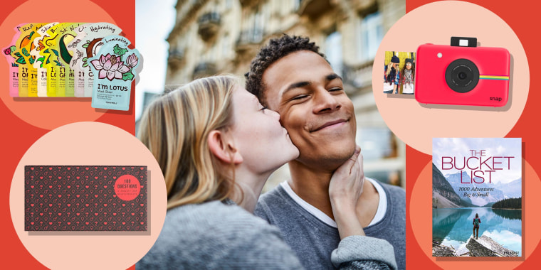 Illustration of a couple and the Zink Instant Digital Camera, The School of Life 100 Questions Love Edition, The Bucket List: 1000 Adventures Big & Small Book  and TONYMOLY facemasks