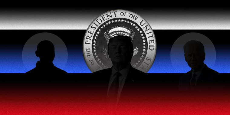 Photo illustration of silhouette of Trump and Biden against the seal of the president of the United States with white, blue and red scan lines over it.