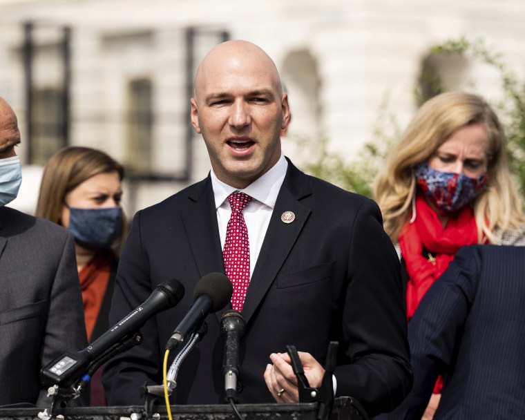 Rep. Anthony Gonzalez, R-Ohio, speaks at a news conference by the Problem Solvers Caucus at the Capitol on Sept. 15, 2020.