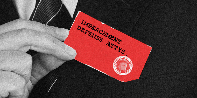 "Photo illustration of a hand pulling out a business card that reads,""Impeachment Defense Attys."" along with a POTUS seal that has Donald's Trump face in it."