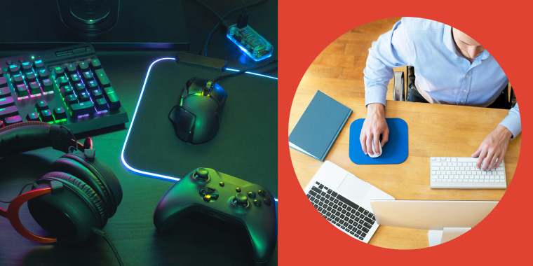 Illustration of gaming set up with a computer mouse, gaming controller and headphones, and a man working at his desk using his mousepad