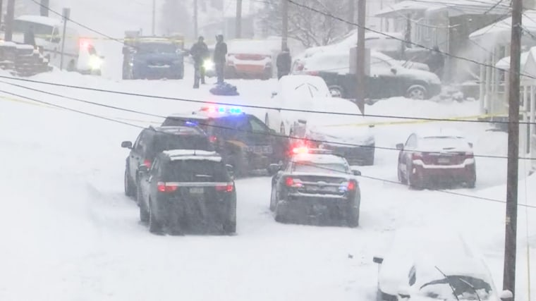 Police work the scene of a murder-suicide following a shoveling dispute that left three dead in Plains Township, Pa., on Feb. 1, 2021.