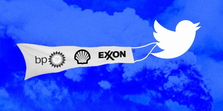 Photo illustration of the Twitter bird carrying a banner with BP, Shell and Exxon logos on it.