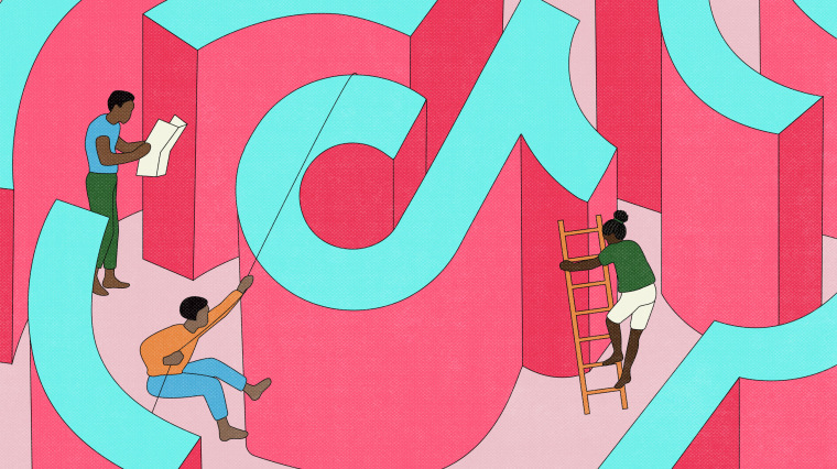 Image: Illustration of Black creators scaling and finding their way through a maze in the shape of a TikTok logo.