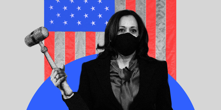 Photo illustration of Vice President Kamala Harris holding a gavel against the American flag.