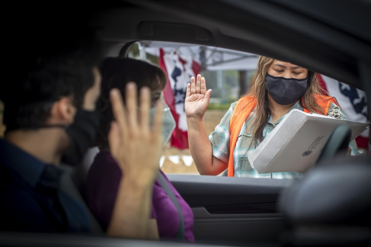 Drive through American citizenship naturalization ceremony during