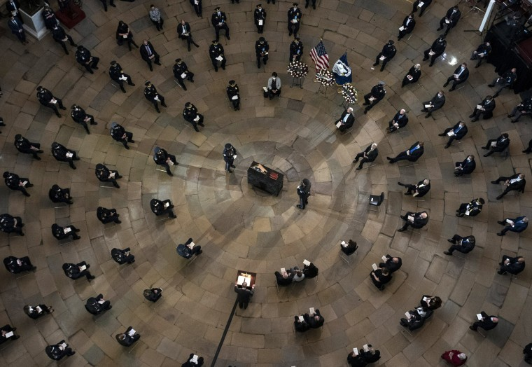 Senate Majority Leader Chuck Schumer speaks during a ceremony memorializing Capitol Police officer Brian Sicknick, as an urn with his cremated remains lies in honor on a black-draped table at the center of the Capitol Rotunda, on Feb. 3, 2021.