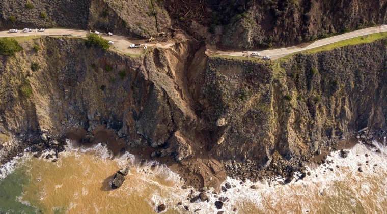 A section of Highway 1 after it collapsed into the Pacific Ocean near Big Sur, Calif. on Jan. 31, 2021.