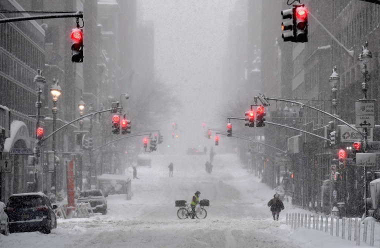 A snow-covered street in Midtown during a winter storm on Feb. 1, 2021 in New York City.
