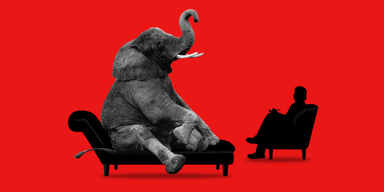 Photo illustration of an elephant sitting on a couch with a therapist.