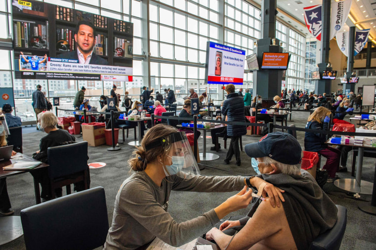 Image: People getting vaccinated against covid at Gillette Stadium