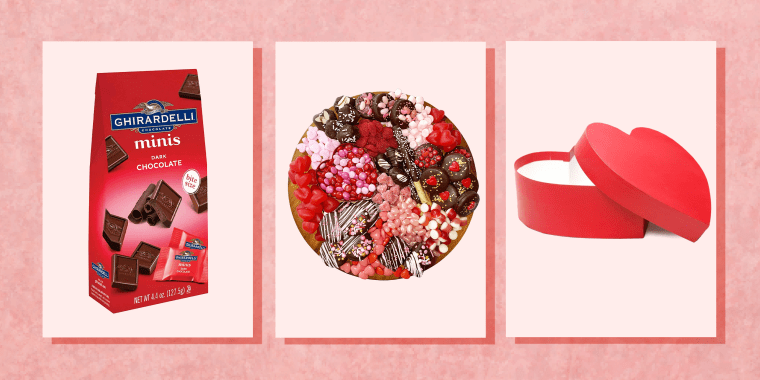 Collage of chocolates and heart shaped products on pink background