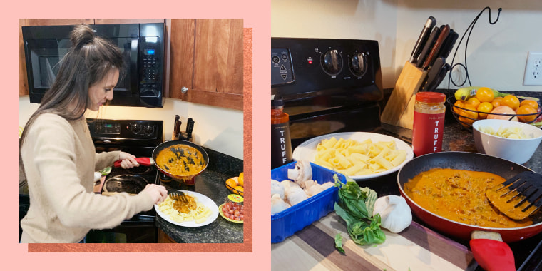 Collage of woman cooking pasta with ingredients
