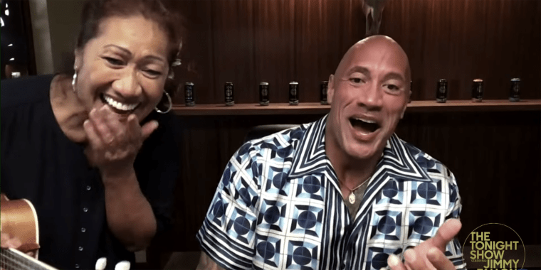 """Dwayne """"The Rock"""" Johnson and his mom serenade Jimmy Fallon in an episode that aired on Feb. 10, 2021."""