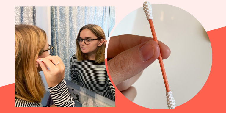 Collage of woman looking in the mirror using ear swab and a hand holding the swab