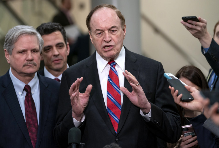 Image: Sen. Richard, Shelby, R-Ala., speaks with reporters on Capitol Hill on Feb. 6, 2019.