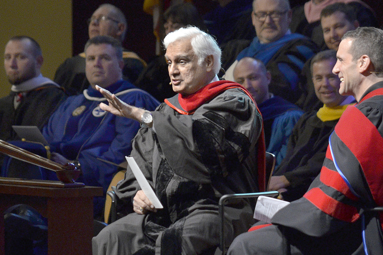 Image: Ravi Zacharias at the Society of World Changers induction ceremony at Indiana Wesleyan University in Marion