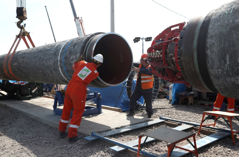 Image: FILE PHOTO: Workers are seen at the construction site of the Nord Stream 2 gas pipeline in Russia