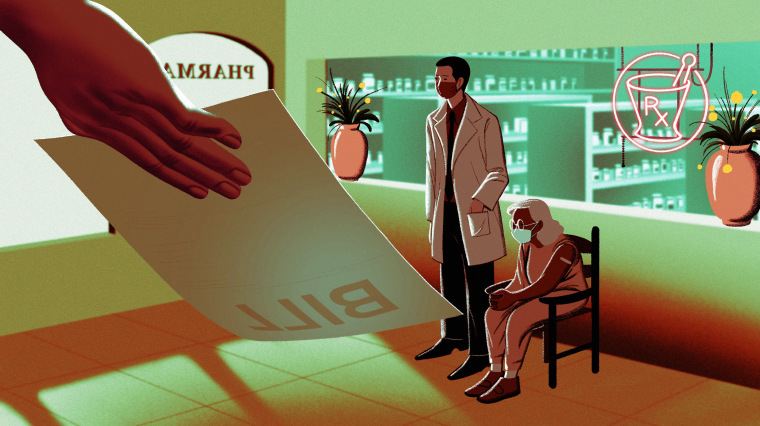 Image: Illustration shows a pharmacists with a patient inside a pharmacy as a large hand shows a paper bill to them.