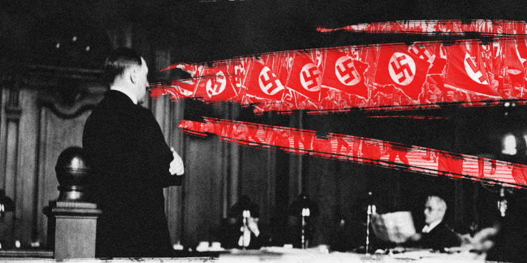 Photo illustration of Adolf Hitler speaking during his trial. Scratches on the images reveal an image of Nazis marching with their flags with a red overlay.
